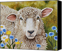 Button Painting Canvas Prints - Winnie in the Wild Flowers Canvas Print by Laura Carey