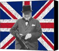 World War Two Canvas Prints - Winston Churchill and His Flag Canvas Print by War Is Hell Store