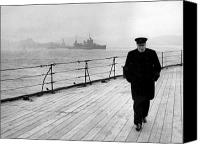 History Canvas Prints - Winston Churchill At Sea Canvas Print by War Is Hell Store