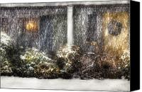 Snowy Night Canvas Prints - Winter - House - One Snowy night Canvas Print by Mike Savad
