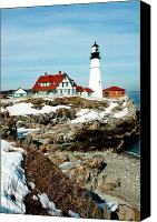 Red White Blue Canvas Prints - Winter at Portland Head Canvas Print by Greg Fortier