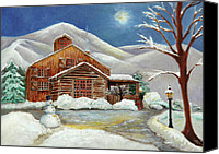 Snowman Canvas Prints - Winter at the Cabin Canvas Print by Enzie Shahmiri