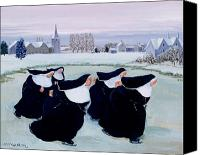 Skating Canvas Prints - Winter at the Convent Canvas Print by Margaret Loxton