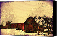 Barn Digital Art Canvas Prints - Winter Barn Canvas Print by Bill Cannon