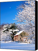 New England Canvas Prints - Winter Barn Scene-Warren Ct Canvas Print by Thomas Schoeller