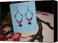 Handcrafted Jewelry Canvas Prints - Winter Berry Beaded Earrings Canvas Print by Beth Sebring