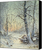 Setting Painting Canvas Prints - Winter Breakfast Canvas Print by Joseph Farquharson