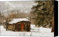 Old Cabins Canvas Prints - Winter Cabin 2 Canvas Print by Ernie Echols