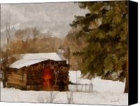 Old Cabins Canvas Prints - Winter Cabin Canvas Print by Ernie Echols