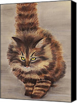 Animal Pastels Canvas Prints - Winter Cat Canvas Print by Anastasiya Malakhova