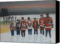 Hockey Painting Canvas Prints - Winter Classic 2012 Canvas Print by Ron  Genest