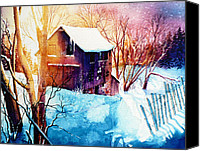 Winter Landscape Paintings Canvas Prints - Winter Color Canvas Print by Hanne Lore Koehler