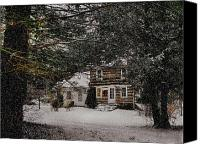 Log Cabin Mixed Media Canvas Prints - Winter Cottage Canvas Print by Gordon Beck