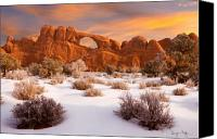 Southwestern Canvas Prints - Winter Dawn at Arches National Park Canvas Print by Utah Images
