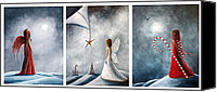 Snowy Night Painting Canvas Prints - Winter Fairies by Shawna Erback Canvas Print by Shawna Erback