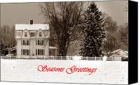 Christmas Cards Canvas Prints - Winter Farm Seasons Greetings Canvas Print by Skip Willits