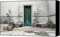 Puddle Canvas Prints - Winter Garden Canvas Print by Cynthia Decker