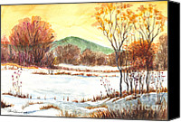 Winter Prints Drawings Canvas Prints - Winter Grace Canvas Print by Carol Wisniewski