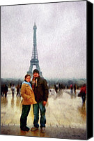 Couples Digital Art Canvas Prints - Winter Honeymoon in Paris Canvas Print by Jeff Kolker