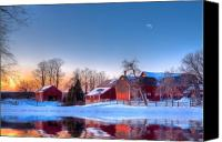 Barn Digital Art Canvas Prints - Winter In New England Canvas Print by Michael Petrizzo