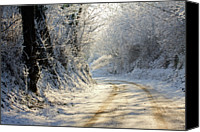 Dirt Road Canvas Prints - Winter In Small Countryside Road Canvas Print by  Frdric Collin