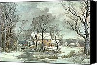 Countryside Canvas Prints - Winter in the Country - the Old Grist Mill Canvas Print by Currier and Ives
