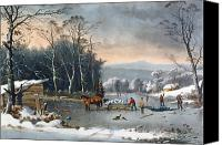 Chill Canvas Prints - Winter in the Country Canvas Print by Currier and Ives