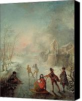 Skates Canvas Prints - Winter Canvas Print by Jacques de Lajoue