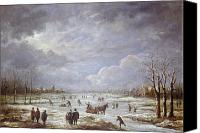 White River Scene Canvas Prints - Winter Landscape Canvas Print by Aert van der Neer