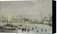 Skates Canvas Prints - Winter Landscape Canvas Print by Barent Avercamp
