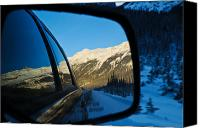Alp Canvas Prints - Winter landscape seen through a car mirror Canvas Print by Ulrich Schade