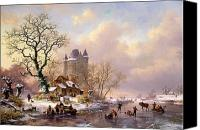 Ice-skating Canvas Prints - Winter Landscape with Castle Canvas Print by Frederick Marianus Kruseman