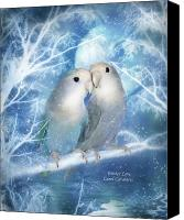 Parrots Canvas Prints - Winter Love Canvas Print by Carol Cavalaris