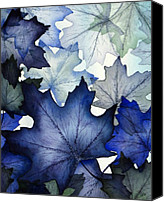 Leaves Painting Canvas Prints - Winter Maple Leaves Canvas Print by Christina Meeusen