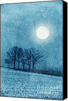 Snowy Night Canvas Prints - Winter Moon over Farm Field Canvas Print by Jill Battaglia