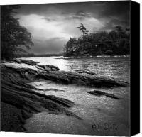 Black And White Photo Canvas Prints - Winter Moonlight Wolfes Neck Woods Maine Canvas Print by Bob Orsillo