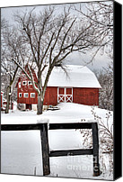 Sleet Canvas Prints - Winter on the Farm Canvas Print by Deborah Smolinske