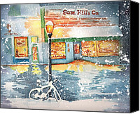 Christmas Cards Painting Canvas Prints - Winter on Whiskey Row Prescott Arizona Canvas Print by Sharon Mick