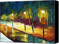 Oil Lamp Canvas Prints - Winter Park Evening Canvas Print by Ash Hussein