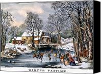 Skate Canvas Prints - Winter Pastime, 1870 Canvas Print by Granger