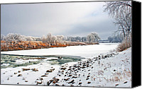 Steve Augustin Canvas Prints - Winter Red River 2012 Canvas Print by Steve Augustin