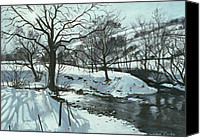 Snowy Trees Painting Canvas Prints - Winter River Canvas Print by John Cooke