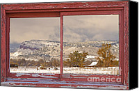 Barn Canvas Prints - Winter Rocky Mountain Foothills Red Barn Picture Window Frame Ph Canvas Print by James Bo Insogna