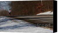 Jogging Canvas Prints - Winter Run Canvas Print by Linda Knorr Shafer