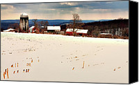 Snow Scenes Photo Canvas Prints - Winter Scene - Tanners Farm of Warren Connecticut Canvas Print by Thomas Schoeller