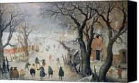 Ice-skating Canvas Prints - Winter Scene Canvas Print by Hendrik Avercamp