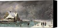 Ice-skating Canvas Prints - Winter Scene Canvas Print by Louis Claude Mallebranche