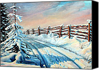 Winter Landscape Paintings Canvas Prints - Winter Snow Tracks Canvas Print by Otto Werner