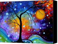 Moon Canvas Prints - WINTER SPARKLE Original MADART Painting Canvas Print by Megan Duncanson
