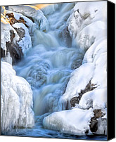 Waterfall Canvas Prints - Winter Sunrise Great Falls Canvas Print by Bob Orsillo